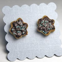 Chocolate Frosted Cookie Earrings