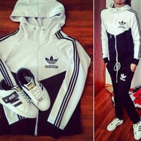 """Adidas"" Women Fashion Cardigan Jacket Sweatshirt Pants Sweatpants Set Two-Piece Sportswear"