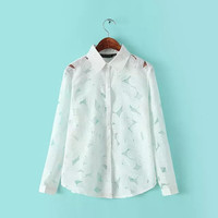 White Floral Print See Through Long-Sleeve Collared Blouse