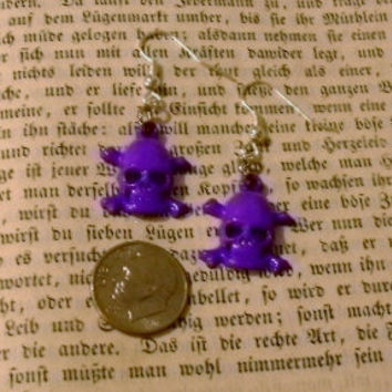 Purple Skull Dangle Earrings - You Choose With Silver Or Gold Plated Earring Findings