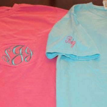 Short Sleeve Comfort Colors Monogrammed Pocket by TheInitialedLife