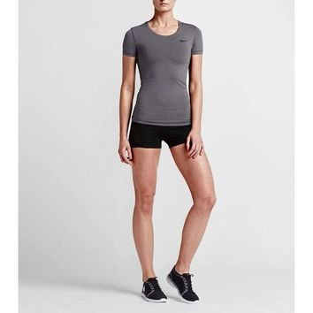 Nike Women's Pro Cool Dri-Fit Training Top 725745 Dark Grey Large
