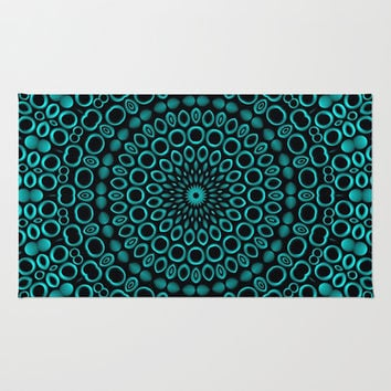 Teal Mandala Area & Throw Rug by Lyle Hatch | Society6