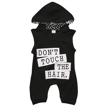New Casual Newborn Toddler Baby Kids Boy Outfit Clothes Print Letter Cotton Sleeveless Hooded Romper Jumpsuit