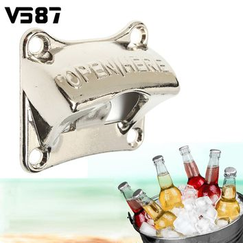 Bottle Opener Wall Mounted Vintage Zinc Alloy Sliver Opener Wine Beer Soda Glass Cap Kitchen Bar Gift 65*58.5*28.3mm