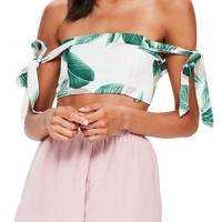 Missguided Tropical Print Off the Shoulder Top | Nordstrom