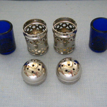 Apex English Silver Plate Filigree Cased Glass Salt Pepper Shakers