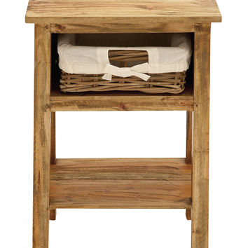 Light Weight & Easily Portable Side Table With One Rattan Drawer