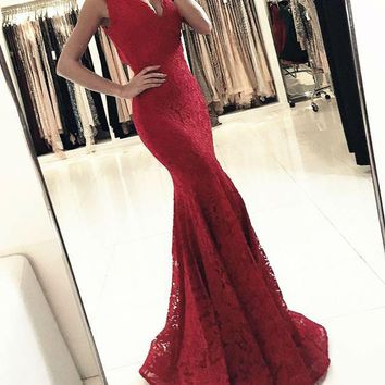 Mermaid Long Evening Dresses V-Neck Lace Prom Party Gown Custom Made Sleeveless Red Evening Gown Longo