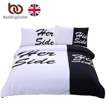 BeddingOutlet Black and White Bedding Set His Side & Her Side Couple Bedclothes Soft Duvet Cover with Pillow Cover UK SIZE 3 Pcs