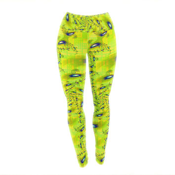 """Michael Sussna """"Synchronized Swimming"""" Lime Green Yoga Leggings"""