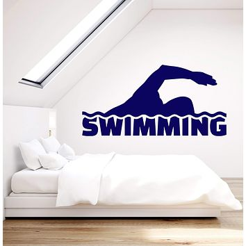 Vinyl Wall Decal Swimmer Swimming Pool Water Sports Stickers (2767ig)