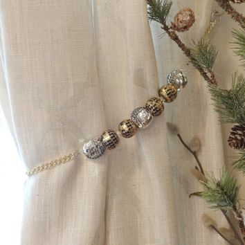 Silver and Gold Holiday Window Curtain Tiebacks