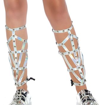 Iridescent Silver Studded Strapped Shin Guards