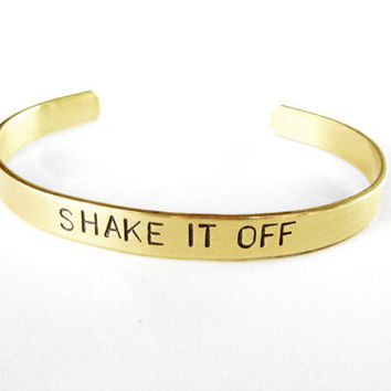 Shake It Off Hand Stamped Cuff Bracelet in Brass