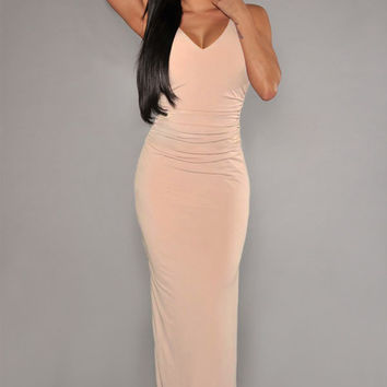 Pink Back Cut-Out Back Maxi Dress with Side Slit