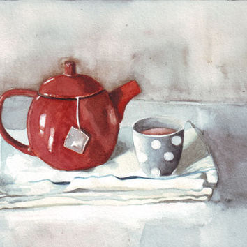 Original watercolor art red teapot grey polka-dot cup white tea towels mother painting