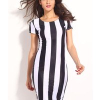 'The Georgette' Monochrome Stripe Bodycon Dress