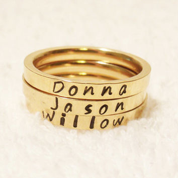 Personalized  Name Ring, Stacking Name Ring, Personalized Stackable Ring, Hand Stamped Ring, Gold Stacking Ring, 3mm Ring (HSSR0004)
