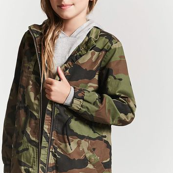 Girls Camo Print Utility Jacket (Kids)