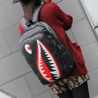MapleClan Cool Shark Faux Leather PU Backpack Black