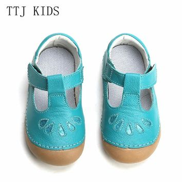 TTJ KIDS Summer Style Children Princess Beautiful Flower Shoes Kids Flat Girl Clothes Roman Elsa Genuine Leather