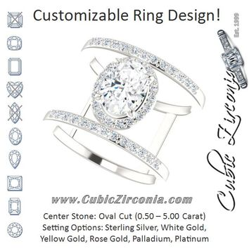 Cubic Zirconia Engagement Ring- The Jersey (Customizable Oval Cut Halo Design with Open, Ultrawide Harness Double-Pavé Band)