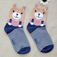 FunShop Woman's Bear and Panda Pattern Cotton Ankel Socks in 2 Colors Bear F1104