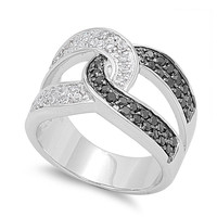 925 Sterling Silver CZ Infinity Knot Black Ring