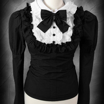 """Victorian schoolgirl"" shirt with big puffs and white ruffled with black bow"