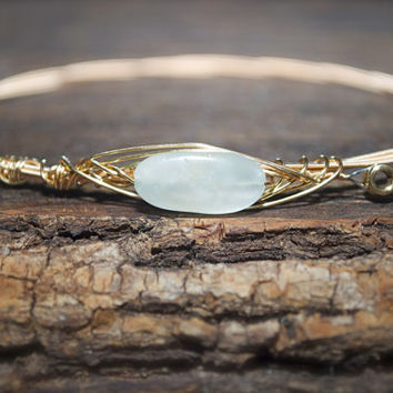 Aquamarine Simplistic Guitar String Bangle with Gold Wire/ Recycled material-Stackable Bracelet- March Birthstone- 19th Anniversary Gemstone