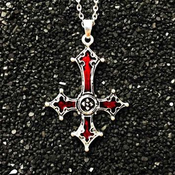 Bloody Inverted Cross Pendant Necklace