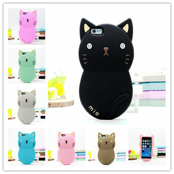 2016 Newest 3D Cute Lovely Cartoon Animal Cat Soft Silicone Rubber Case Cover for iPhone 5 5S 5C C 4 4S SE 6 6S Plus