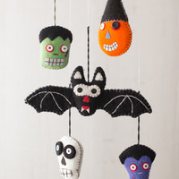Set of 5 Felt Halloween Ornaments