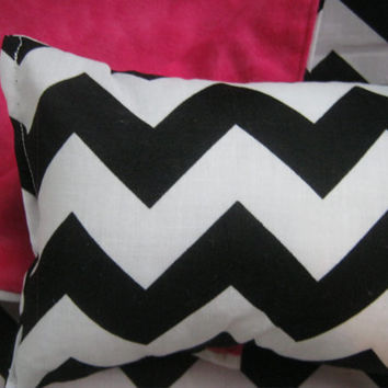 American Girl Doll Bedding, white, black, and pink chevron doll blanket and pillow for 18 inch doll