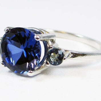 Aquamarine and Blue Sapphire Ring Sterling Silver, September Birthstone Ring, Sapphire Engagement Ring, Aquamarine Accent Ring, 925 Ring