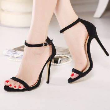 Hot sale trend high heel pure color sandals fashion ladies high heels