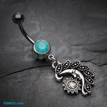Vintage Tribal Sun & Moon Belly Button Ring