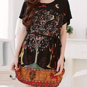 Black Printed Tree and Animal Mini Dress