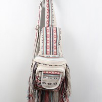 Single Shoulder Navajo Print Fringe Backpack