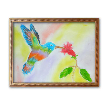 Bird Hummingbird painting Batik Painting Silk Painting Nature Batik Baby Art Kids Nursery decor Drawing on fabric Painted silk Bird painting