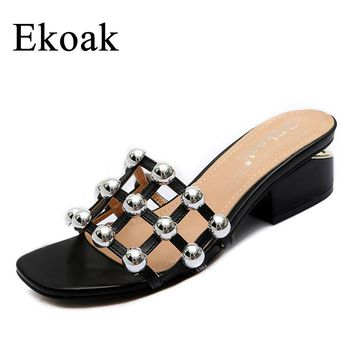 Ekoak 2017 New Checkered Rivets Women sandals Summer shoes woman Fashion high heels Gladiator women sandals Ladies beach slipper