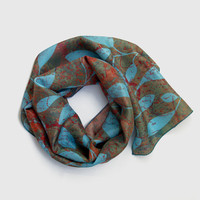 Leaves Silk Scarf, Lightweight Turquoise and Rusty Orange Leaf Pattern Silk Scarf, Modern Design Women's Headscarf, Gift Idea UK