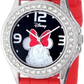 Disney Womens MN1052 Rhinestone Accent Minnie Mouse Red Rubber Strap Watch