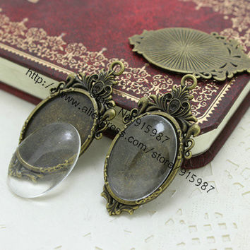 Sweet Bell 10set two color  filigree cameo cabochon 23*45mm(Fit 18*25mm) base setting pendant tray + clear glass cabochons D0357
