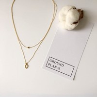 Jewelry New Arrival Gift Shiny Stylish Double-layered Simple Design Korean Necklace [10412392596]