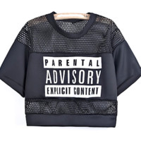'Parental Advisory' Cropped Jersey - More Colors