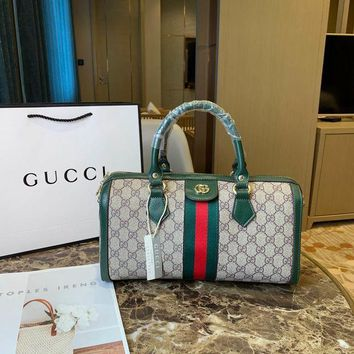008-1 Gucci Canvas Shoulder Strap Crossbody Pouch Handle Fashion Weekend Duffel Bag 31-12-18cm