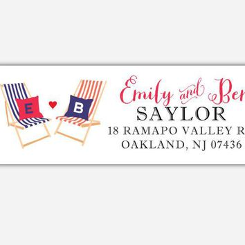 Seaside - Nautical Collection - Return Address Labels - Striped Beach Chairs with Monogram Pillows