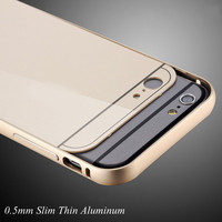 with LOGO !! Metal Aluminum +Acrylic Back Cover for Apple iphone 6 4.7 Accessories Hybrid Luxury Case for Apple iphone6 Plus 5.5